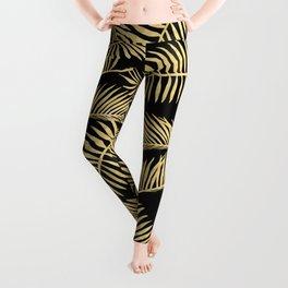 Palm Leaf Pattern Gold And Black Leggings