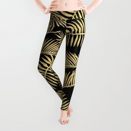 Palm Leaf Pattern Gold And Black Leggings