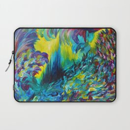 FLIGHT ON TAP - Whimsical Colorful Feathers Fountain Peacock Abstract Acrylic Painting Purple Teal Laptop Sleeve