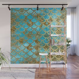 Aqua Teal & Gold Glitter MermaidScales - Mermaid Scales And Sea Foam Wall Mural