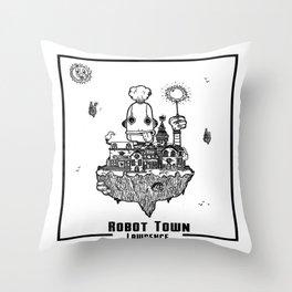 Robot Town Throw Pillow