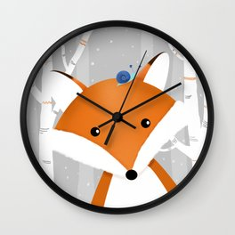 Fox and snail Wall Clock