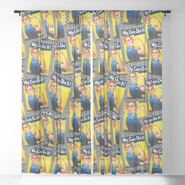 Rosie the Riveter- Scattered Chevron Mix - Seamless Pattern Sheer Curtain
