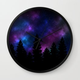 Silhouette tree against a starry night Wall Clock