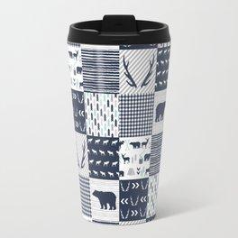 Camper antlers bears pattern minimal nursery basic navy mint grey white camping cabin chalet decor Travel Mug
