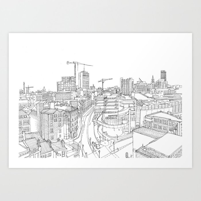 Manchester city centre art print