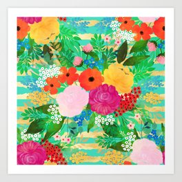 Cute Watercolor Red & Yellow Floral Biscay Green Design Art Print