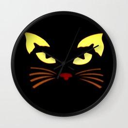 Black Cat at Night Wall Clock