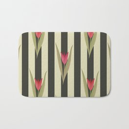 Spring flowers. Tulips are red. Retro. Bath Mat