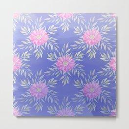 Hand painted violet pink watercolor modern daisies floral Metal Print