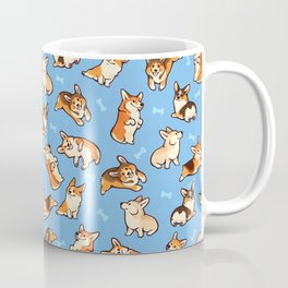 Jolly corgis in blue Coffee Mug