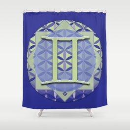 GEMINI Flower of Life Astrology Design Shower Curtain