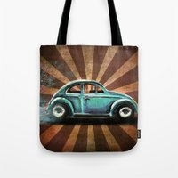 volkswagon Tote Bags featuring Punch Bug by Cindy Thornton