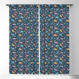 Dinosaur + Flowers Pattern Blackout Curtain