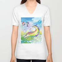 mlp V-neck T-shirts featuring Rainbow Dash - MLP by mmishee