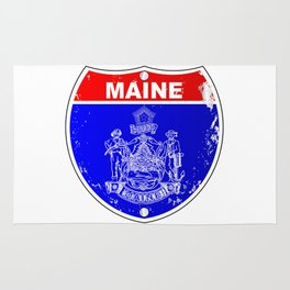 Maine Flag As A  Interstate Sign Rug