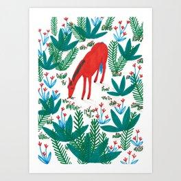 Red Horse Art Print