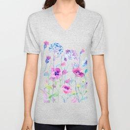 Watercolor Field of Pastel Unisex V-Neck