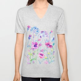 Watercolor Field of Pastel Unisex V-Neck