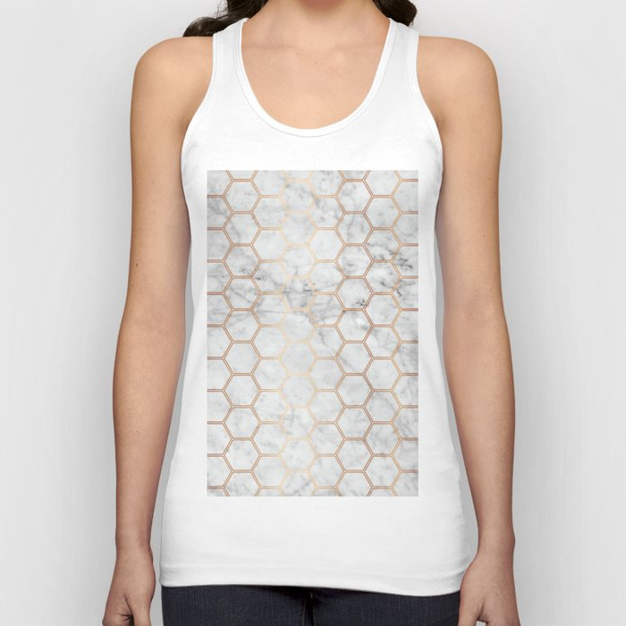 Geometric Honeycomb Pattern - Marble & Rose Gold #358 Unisex Tanktop