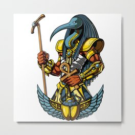 Thoth Egyptian God Ancient Ankh Scarab Metal Print