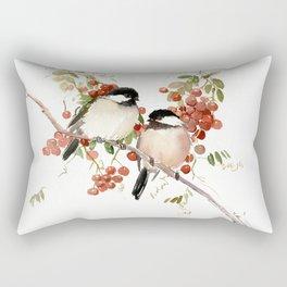 Chickadee Bird Vintage Bird Artwork Rectangular Pillow
