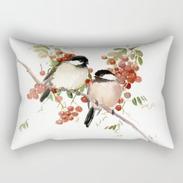 Chickadee Bird Vintage Bird Artwork, two birds, chickadees woodland design Rectangular Pillow