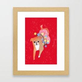 Dog in Pink Flower Dress Framed Art Print
