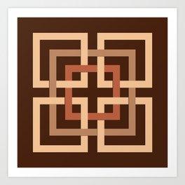 Modern Geometric Squares, Chocolate Brown and Tan Art Print