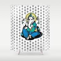 ganesha Shower Curtains featuring Ganesha by Julie Rose Design