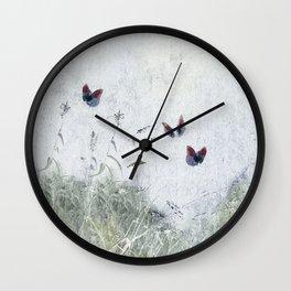 A Spell for Creation - butterflies amongst grass Wall Clock