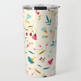 Colorful Tossed Summer Flowers Travel Mug
