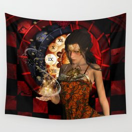 Steampunk lady with clocks and gears Wall Tapestry