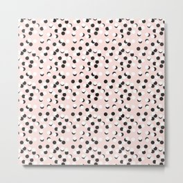 Hand drawn white and black drops and dots on pink Metal Print