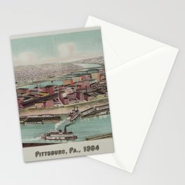 Vintage Pictorial Map of Pittsburgh PA (1904) Stationery Cards