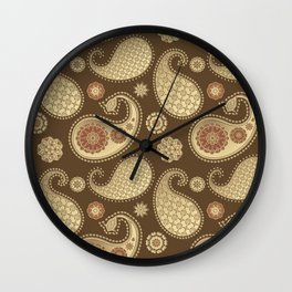 Paisley pattern, Soft Gold on Chocolate Brown Wall Clock