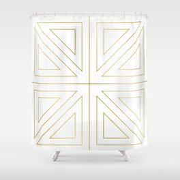 Angled 2 White Gold Shower Curtain