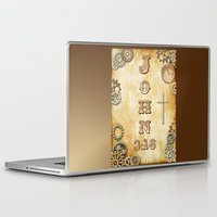bible verses Laptop & iPad Skins featuring Steampunk Bible Verse John 3:16 by Whimsy and Nonsense
