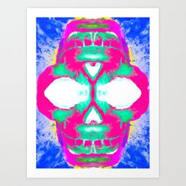 smiling pink skull head with blue and yellow background Art Print
