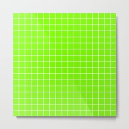 Chartreuse (web) - green color - White Lines Grid Pattern Metal Print