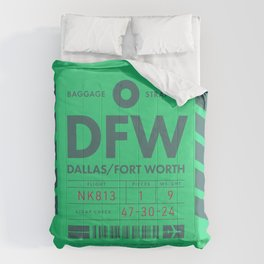 Baggage Tag D - DFW Dallas Fort Worth USA Comforters