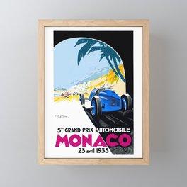 1933 Monaco Grand Prix Race Poster  Framed Mini Art Print