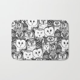 just owls black white Bath Mat