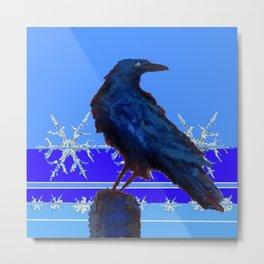 BLUE CROW WINTER SNOWFLAKE ART Metal Print