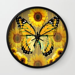 NUT & PUTTY COLORED YELLOW SUNFLOWERS ART Wall Clock