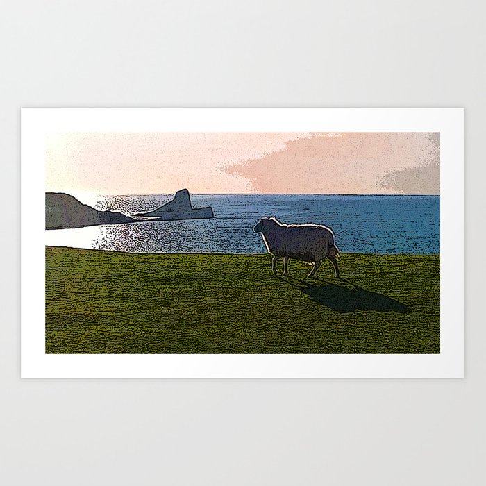 Sheep at Worms Head, Gower Coast, Wales Art Print by oakendoriginals