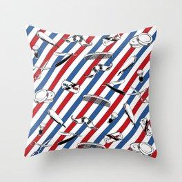 Barber Shop Pattern V2 Throw Pillow