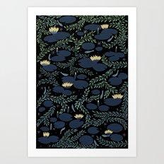 night waterlily Art Print