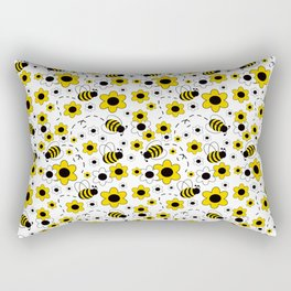 Honey Bumble Bee Yellow Floral Pattern Rectangular Pillow