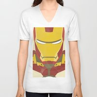 iron man V-neck T-shirts featuring IRON MAN by LindseyCowley